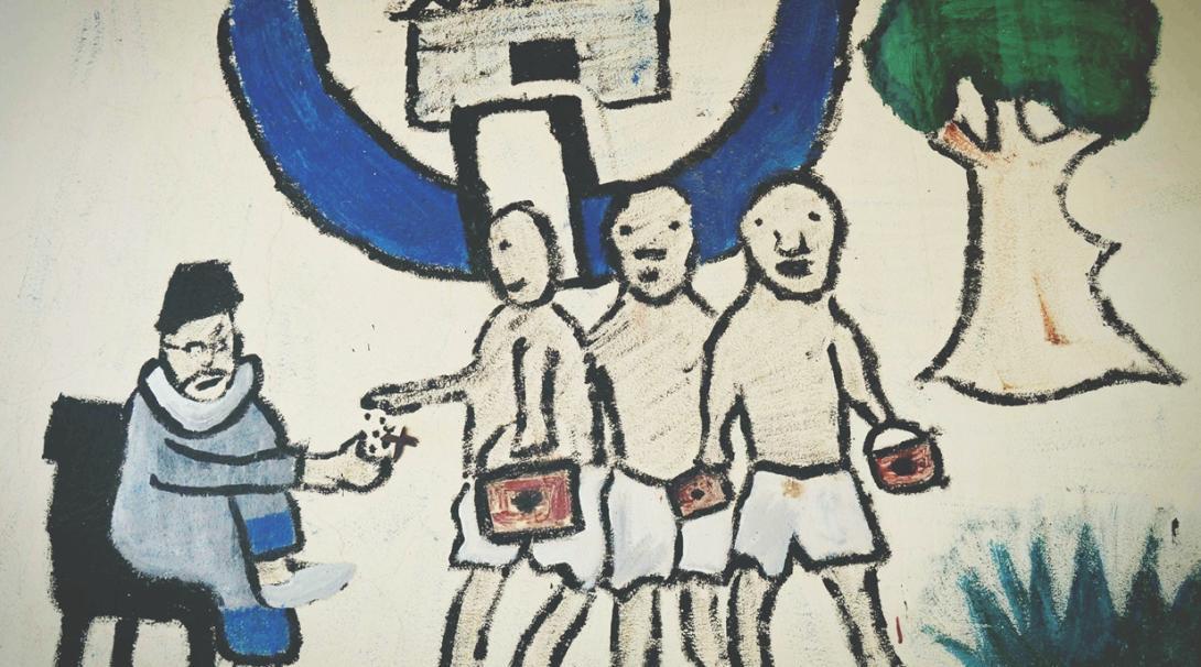 セネガルのタリベの子供たちが稼いだお金をマラブ―に収める